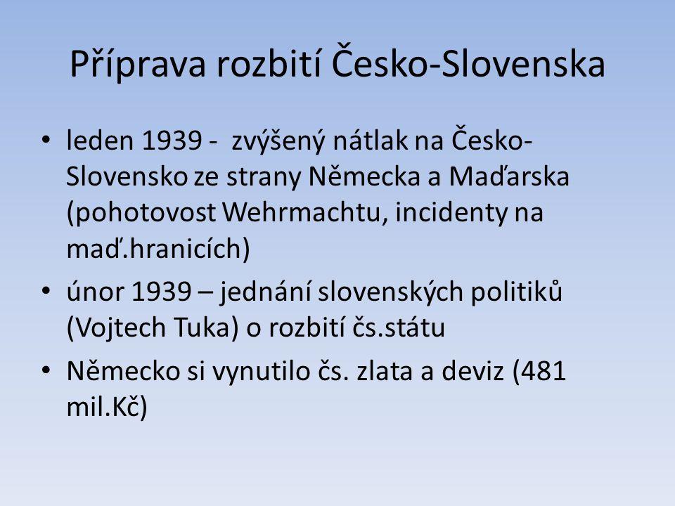 Příprava rozbití Česko-Slovenska leden 1939 - zvýšený nátlak na Česko- Slovensko ze strany Německa a Maďarska (pohotovost Wehrmachtu, incidenty na maď
