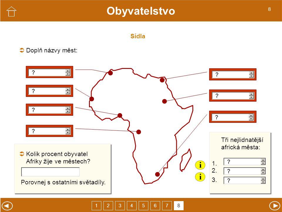 Sídla Obyvatelstvo Doplň názvy měst:  Tři nejlidnatější africká města: 1.