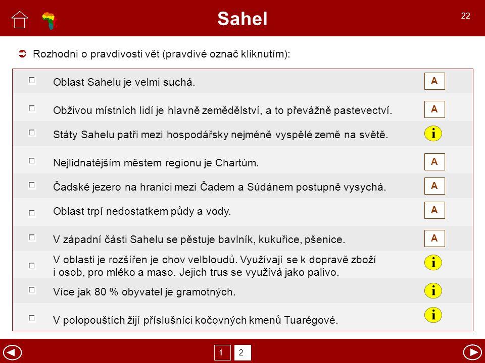Sahel Rozhodni o pravdivosti vět (pravdivé označ kliknutím):  A A A A A A Oblast Sahelu je velmi suchá. Obživou místních lidí je hlavně zemědělství,