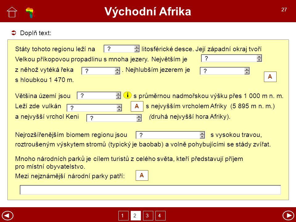 Východní Afrika Doplň text: Státy tohoto regionu leží na litosférické desce.