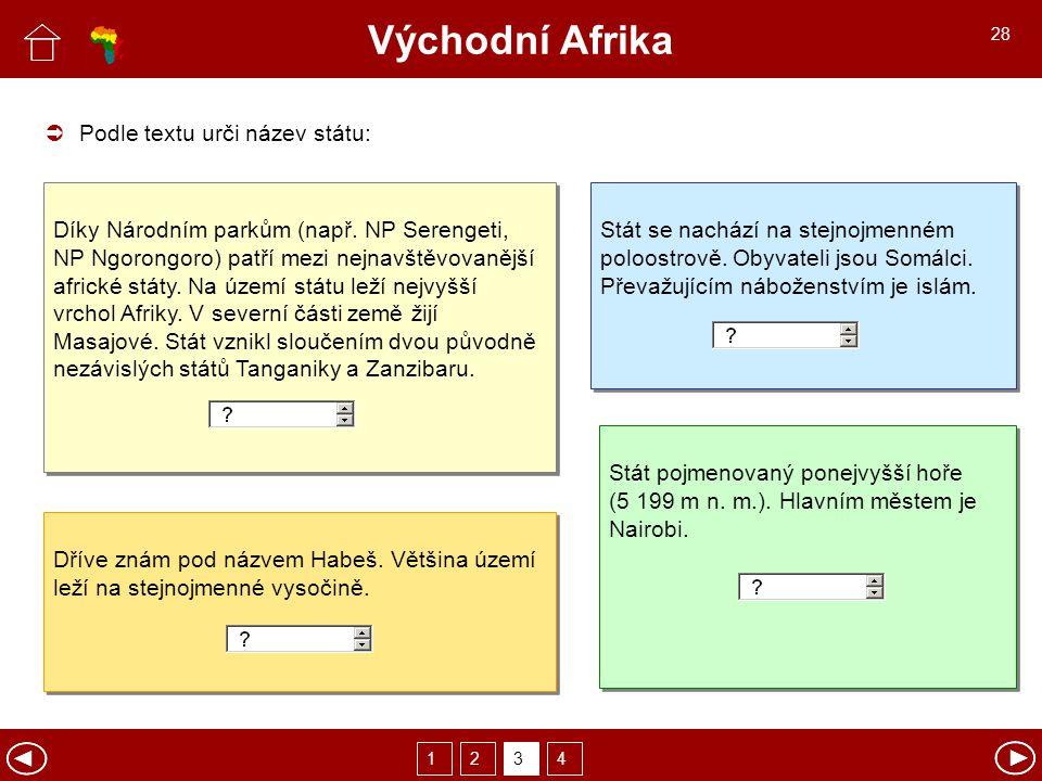 Východní Afrika  Podle textu urči název státu: Díky Národním parkům (např.