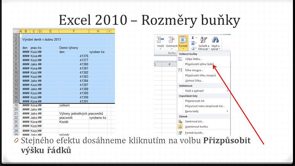 Excel 2010 – Rozměry buňky 0 Stejného efektu dosáhneme kliknutím na volbu Přizpůsobit výšku řádků