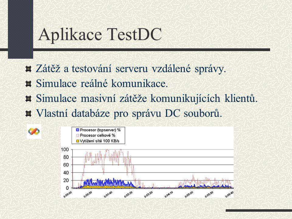 Aplikace TestDC Zátěž a testování serveru vzdálené správy.