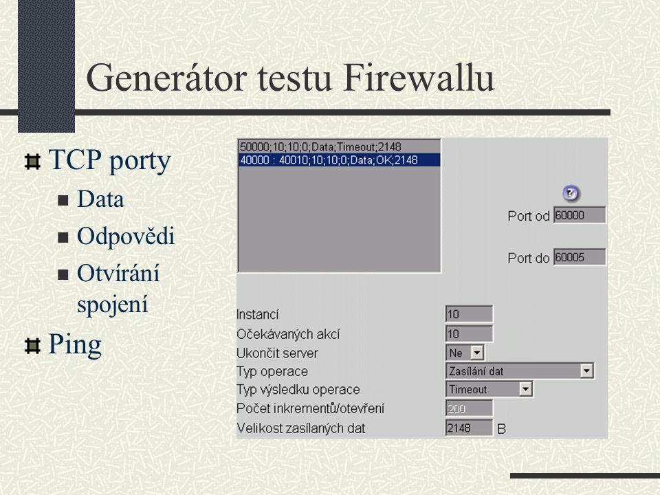 Generátor testu Firewallu TCP porty Data Odpovědi Otvírání spojení Ping