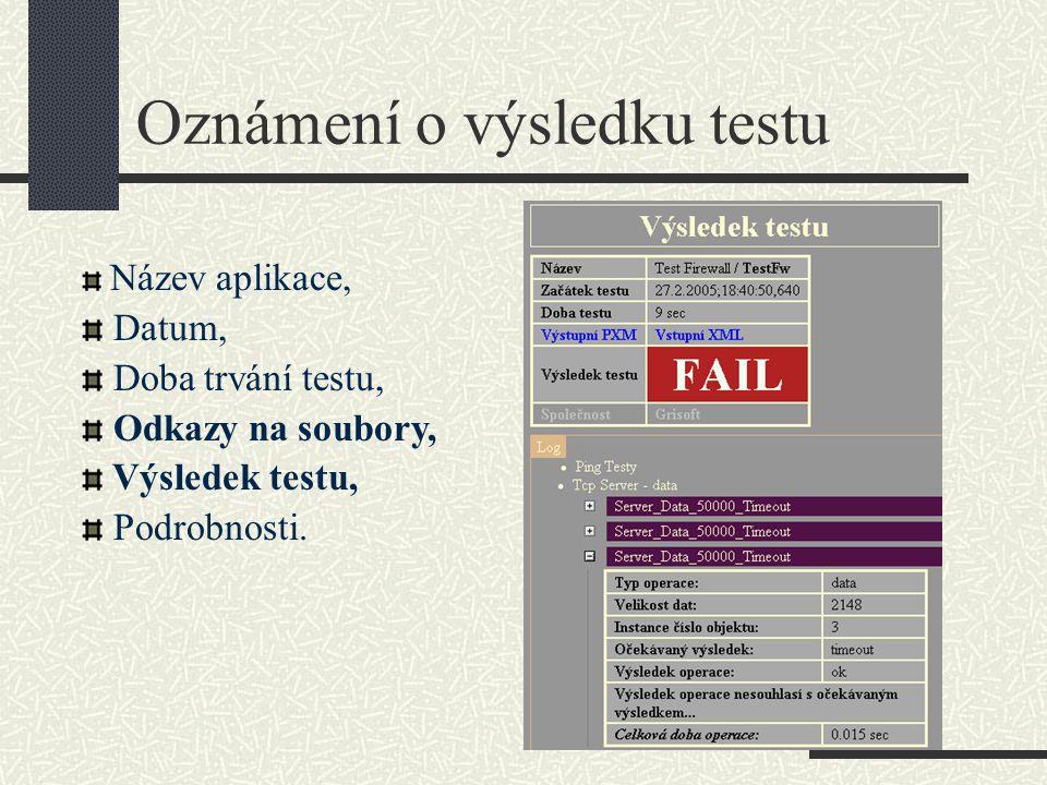 Oznámení o výsledku testu Název aplikace, Datum, Doba trvání testu, Odkazy na soubory, Výsledek testu, Podrobnosti.