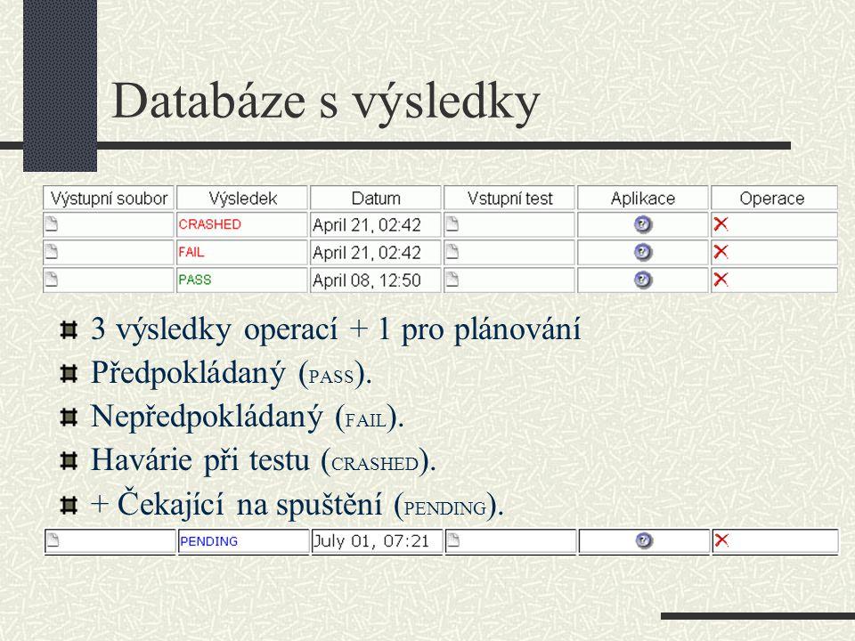 Databáze s výsledky 3 výsledky operací + 1 pro plánování Předpokládaný ( PASS ).