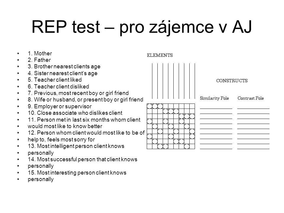 REP test – pro zájemce v AJ 1. Mother 2. Father 3. Brother nearest clients age 4. Sister nearest client's age 5. Teacher client liked 6. Teacher clien