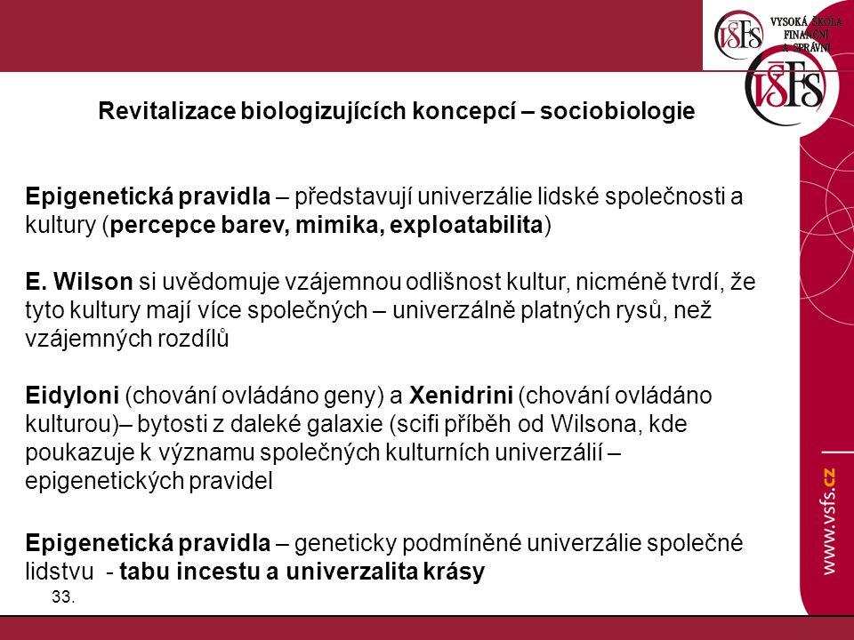 33. Revitalizace biologizujících koncepcí – sociobiologie Epigenetická pravidla – představují univerzálie lidské společnosti a kultury (percepce barev