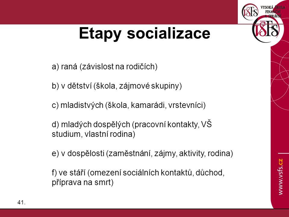 41. Etapy socializace a) raná (závislost na rodičích) b) v dětství (škola, zájmové skupiny) c) mladistvých (škola, kamarádi, vrstevníci) d) mladých do