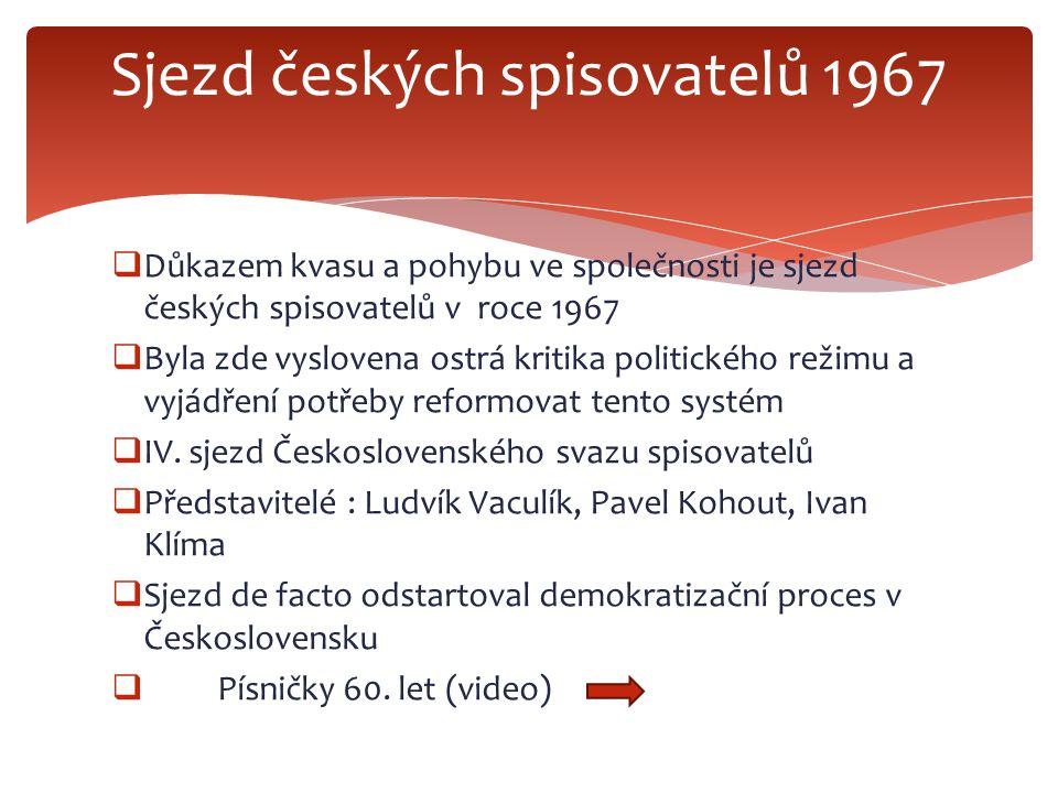  Důkazem kvasu a pohybu ve společnosti je sjezd českých spisovatelů v roce 1967  Byla zde vyslovena ostrá kritika politického režimu a vyjádření potřeby reformovat tento systém  IV.