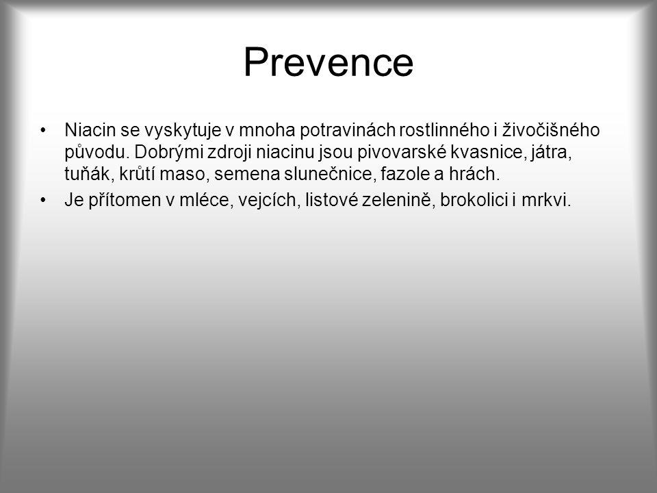 Prevence Niacin se vyskytuje v mnoha potravinách rostlinného i živočišného původu.