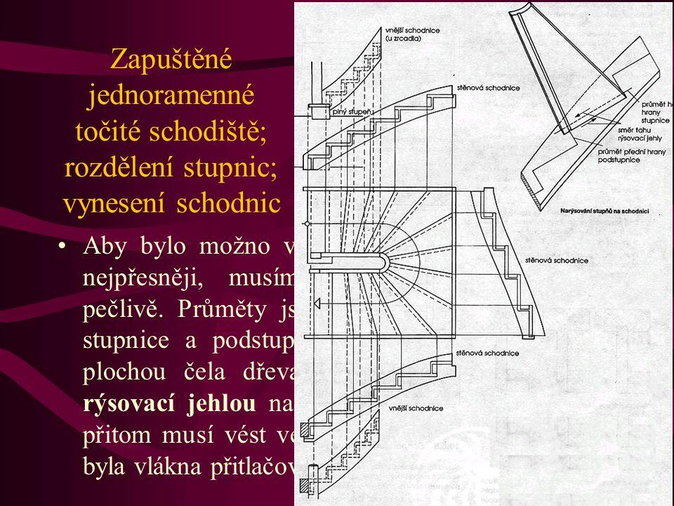 Schodiště se zapuštěnými stupni Schodiště se zapuštěnými stupni se liší od schodišť se zasunutými stupnicemi tím, že přídavek 4 až 5 cm zůstává na spo