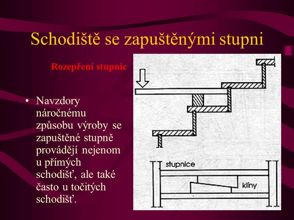 Schodiště se zapuštěnými stupni Spoj podstupnice se stupnicí se musí provést tak, aby mohl sloužit jako opěra pro stupnici. Musí být rovněž k dispozic