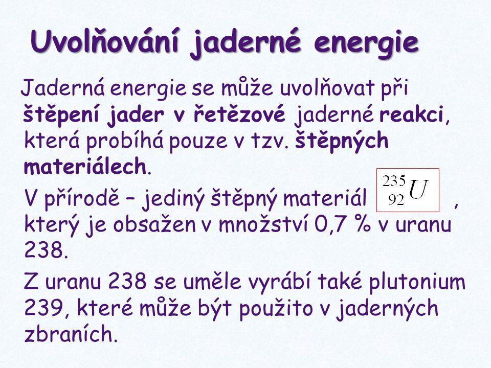 Řetězová reakce: do jádra narazí neutron, rozštěpí ho na dvě jádra a dále vzniknou 2-3 nové neutrony, které mohou štěpit další jádra.