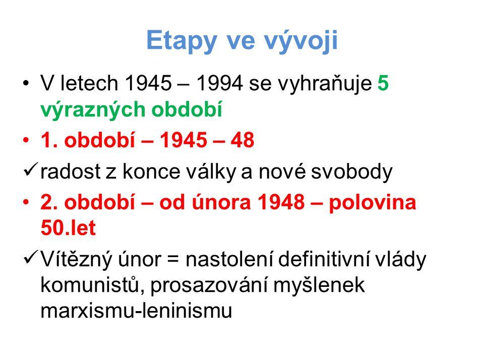 Etapy ve vývoji V letech 1945 – 1994 se vyhraňuje 5 výrazných období 1. období – 1945 – 48 radost z konce války a nové svobody 2. období – od února 19