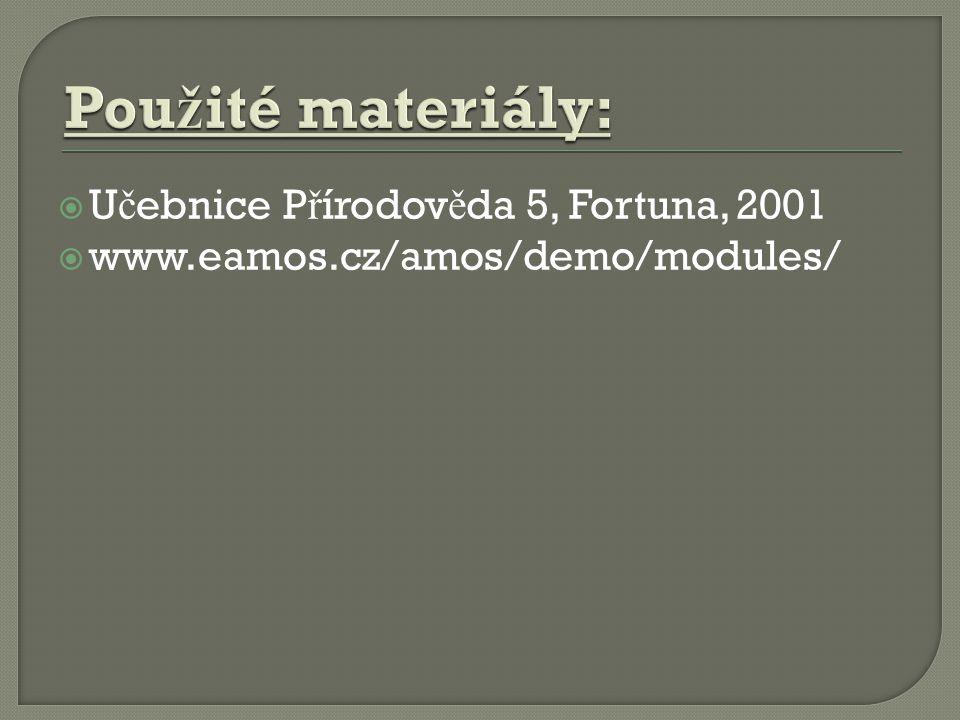  U č ebnice P ř írodov ě da 5, Fortuna, 2001  www.eamos.cz/amos/demo/modules/