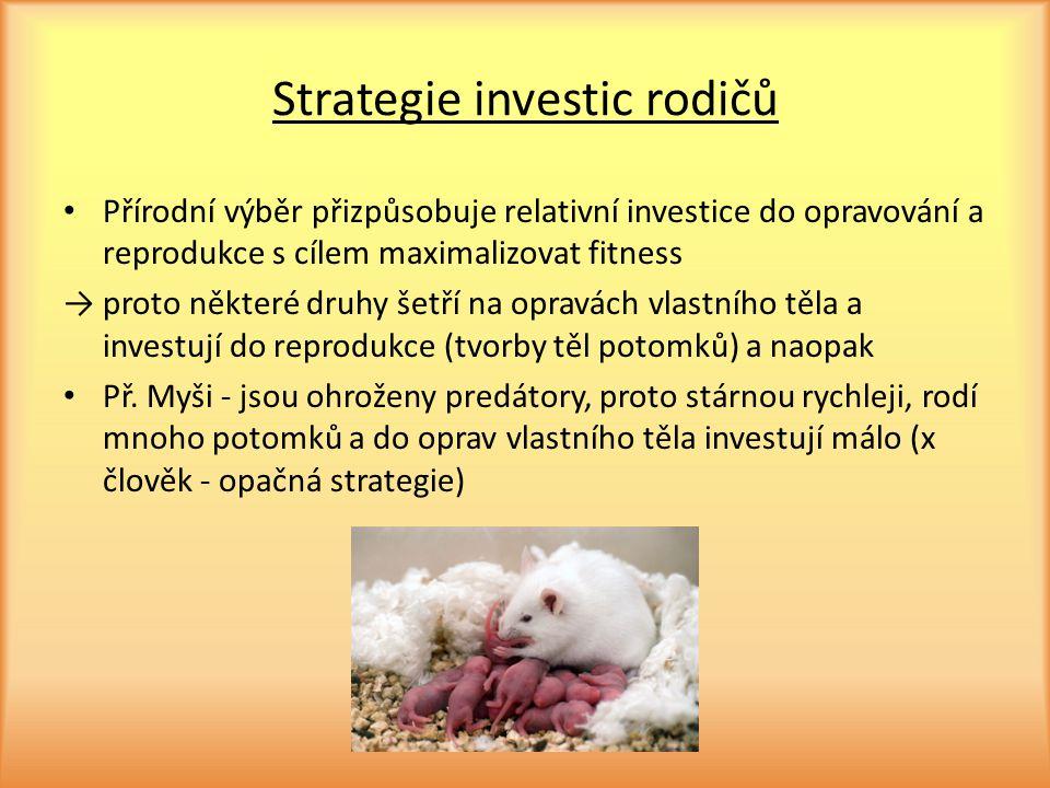 Strategie investic rodičů Přírodní výběr přizpůsobuje relativní investice do opravování a reprodukce s cílem maximalizovat fitness → proto některé dru