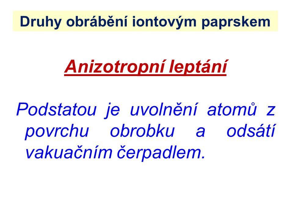 Druhy obrábění iontovým paprskem Anizotropní leptání Podstatou je uvolnění atomů z povrchu obrobku a odsátí vakuačním čerpadlem.
