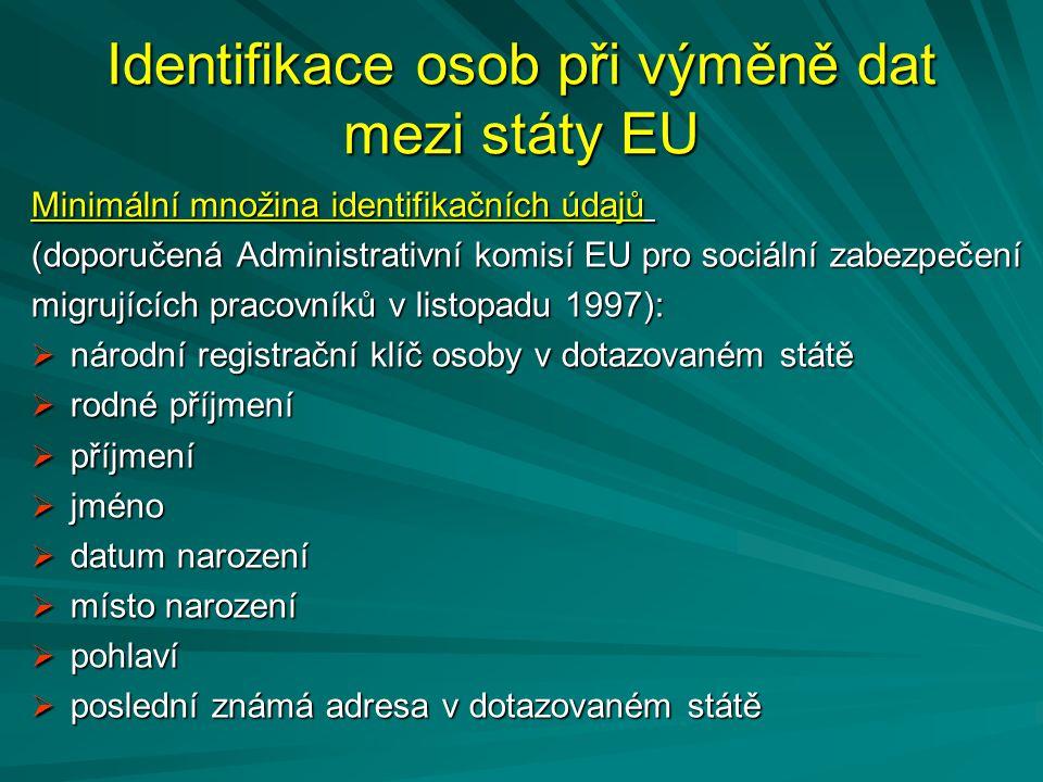 Identifikace osob při výměně dat mezi státy EU Minimální množina identifikačních údajů (doporučená Administrativní komisí EU pro sociální zabezpečení