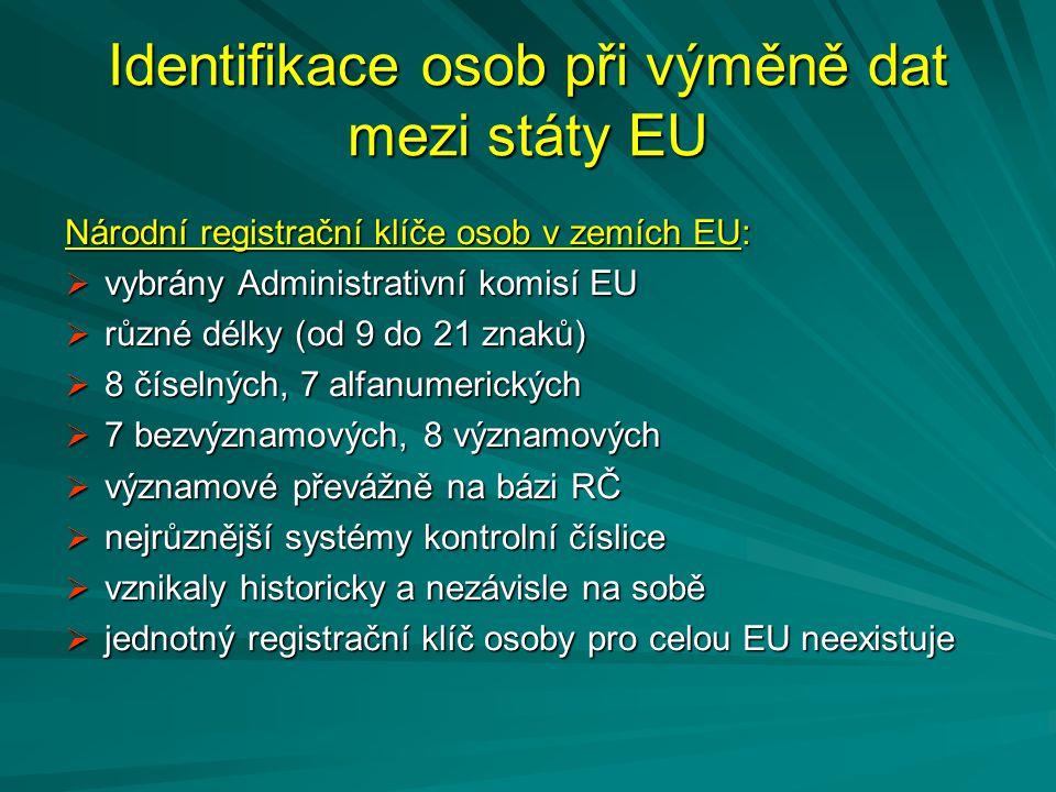 Identifikace osob při výměně dat mezi státy EU Národní registrační klíče osob v zemích EU:  vybrány Administrativní komisí EU  různé délky (od 9 do