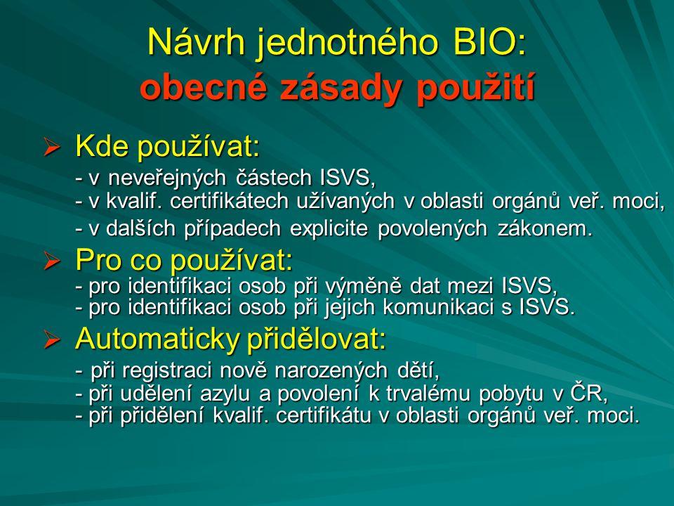 Návrh jednotného BIO: obecné zásady použití  Kde používat: - v neveřejných částech ISVS, - v kvalif. certifikátech užívaných v oblasti orgánů veř. mo