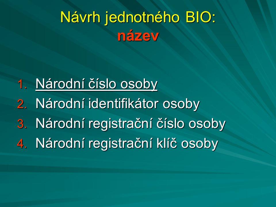 Návrh jednotného BIO: název 1. Národní číslo osoby 2. Národní identifikátor osoby 3. Národní registrační číslo osoby 4. Národní registrační klíč osoby