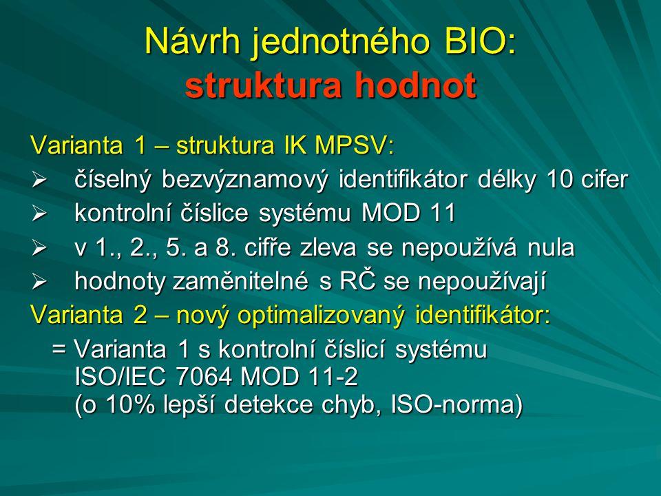 Návrh jednotného BIO: struktura hodnot Varianta 1 – struktura IK MPSV:  číselný bezvýznamový identifikátor délky 10 cifer  kontrolní číslice systému