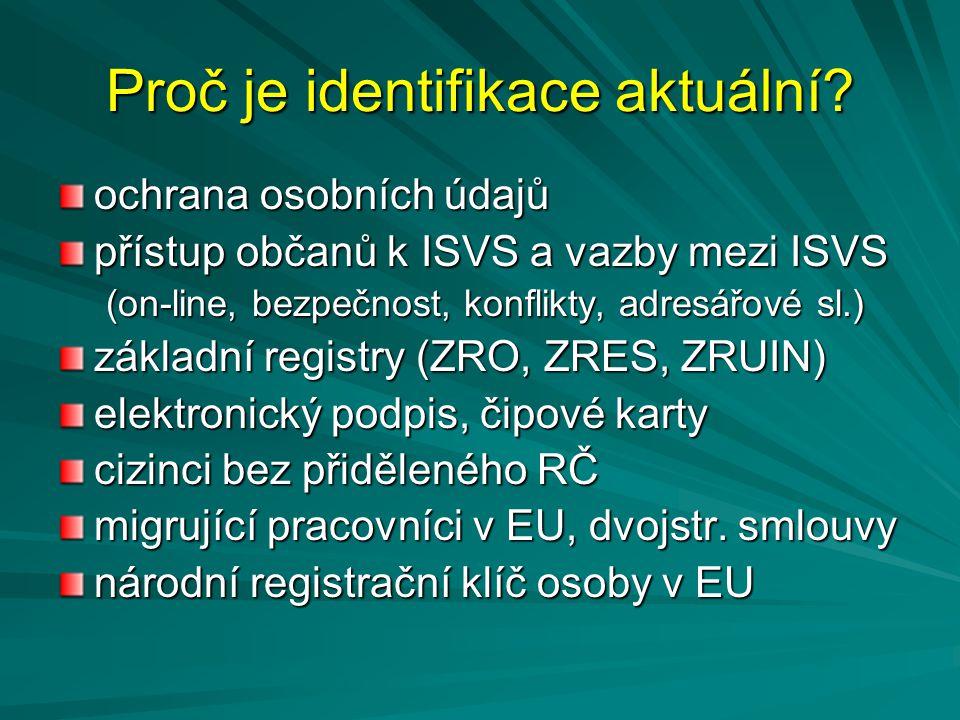 Proč je identifikace aktuální? ochrana osobních údajů přístup občanů k ISVS a vazby mezi ISVS (on-line, bezpečnost, konflikty, adresářové sl.) základn
