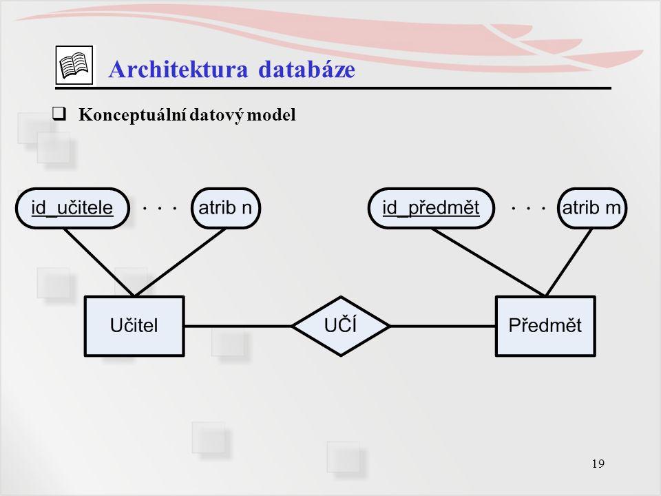 19 Architektura databáze  Konceptuální datový model