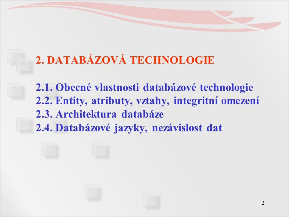 23 2.4.Databázové jazyky, nezávislost dat  Databázové jazyky 3.