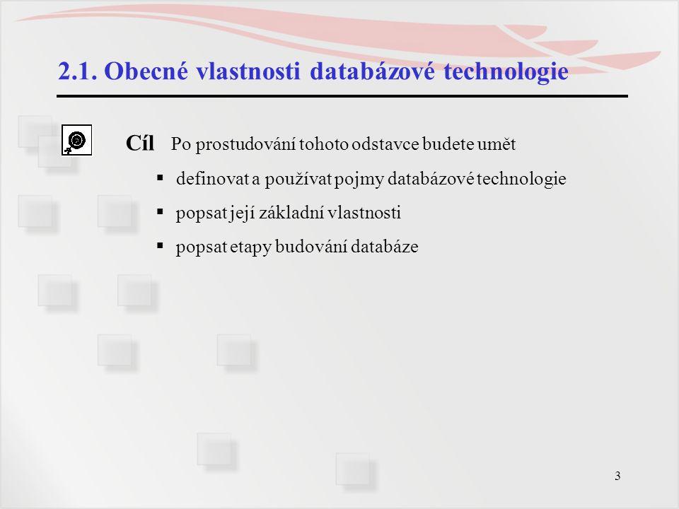 3 2.1. Obecné vlastnosti databázové technologie Cíl Po prostudování tohoto odstavce budete umět  definovat a používat pojmy databázové technologie 