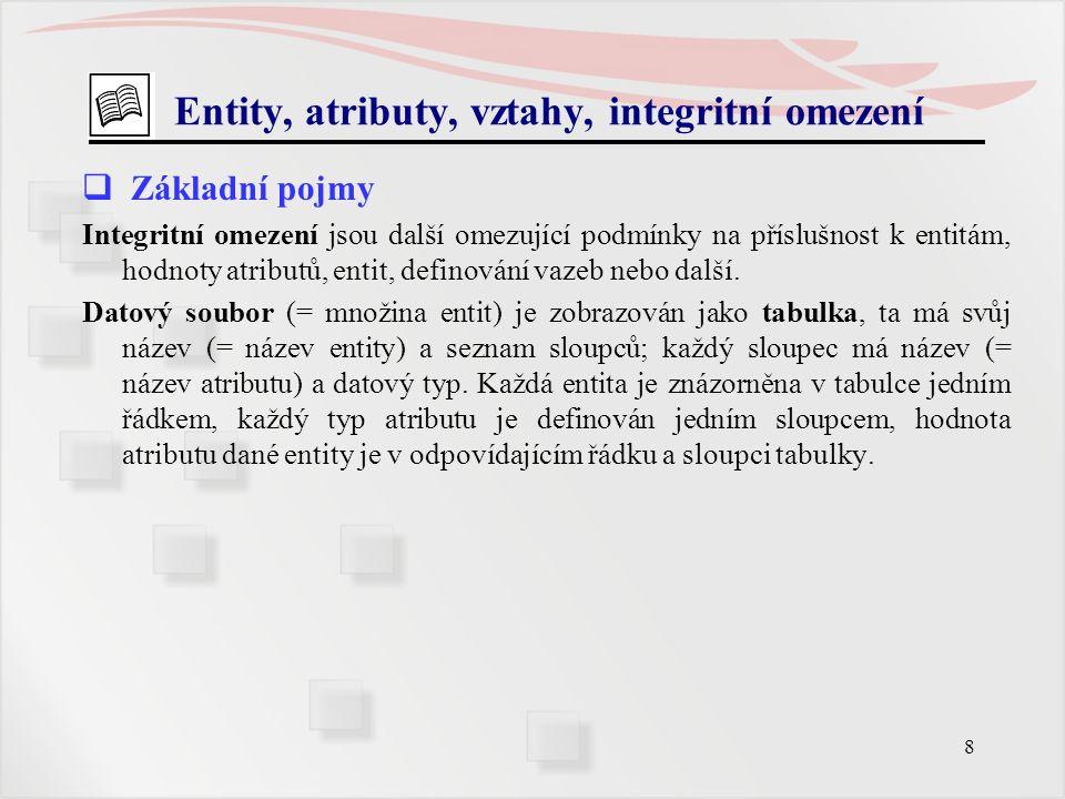 8 Entity, atributy, vztahy, integritní omezení  Základní pojmy Integritní omezení jsou další omezující podmínky na příslušnost k entitám, hodnoty atr