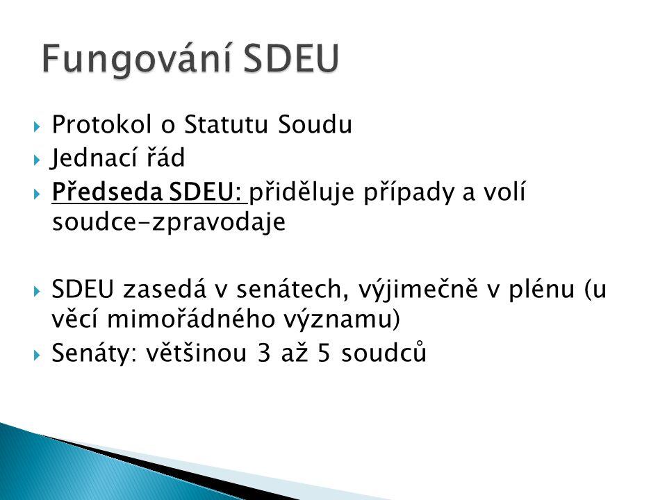  Protokol o Statutu Soudu  Jednací řád  Předseda SDEU: přiděluje případy a volí soudce-zpravodaje  SDEU zasedá v senátech, výjimečně v plénu (u vě