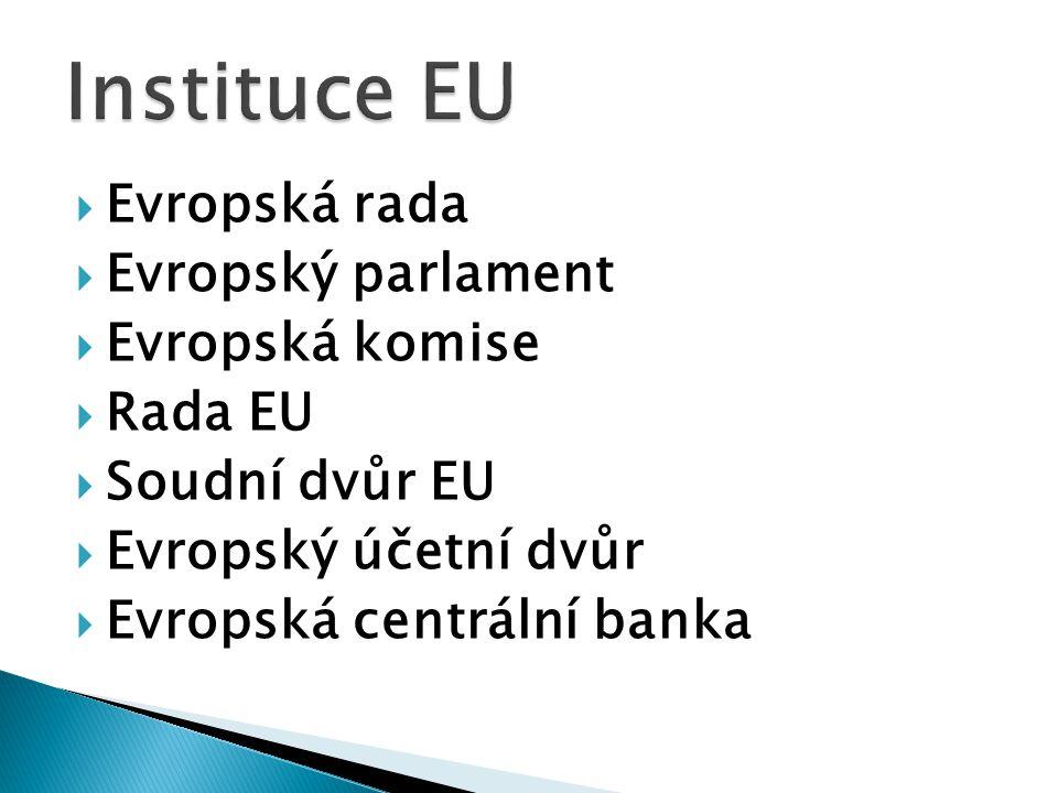  Evropská rada  Evropský parlament  Evropská komise  Rada EU  Soudní dvůr EU  Evropský účetní dvůr  Evropská centrální banka