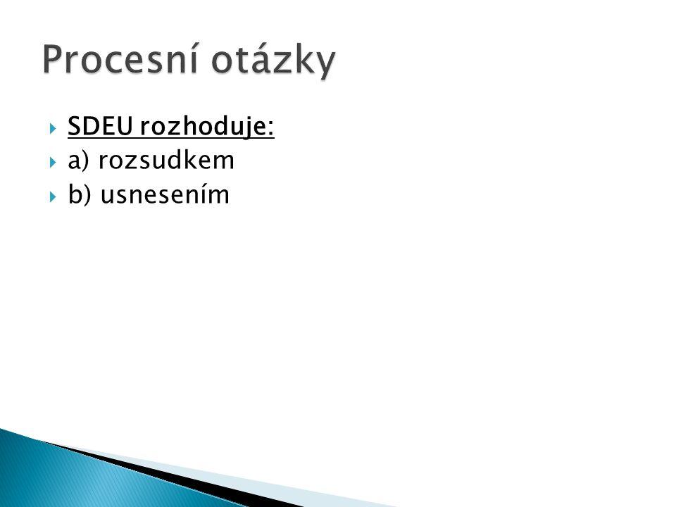  SDEU rozhoduje:  a) rozsudkem  b) usnesením