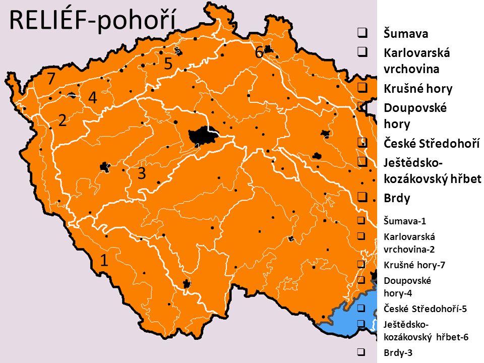 RELIÉF-pánve a tabule  Třeboňská p. Chebská p.  Sokolovská p.