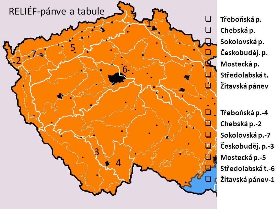RELIÉF-pánve a tabule  Třeboňská p.  Chebská p.