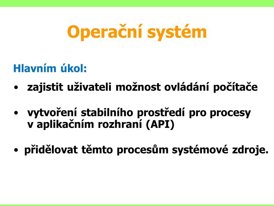 Operační systém Hlavním úkol: zajistit uživateli možnost ovládání počítače vytvoření stabilního prostředí pro procesy v aplikačním rozhraní (API) přidělovat těmto procesům systémové zdroje.