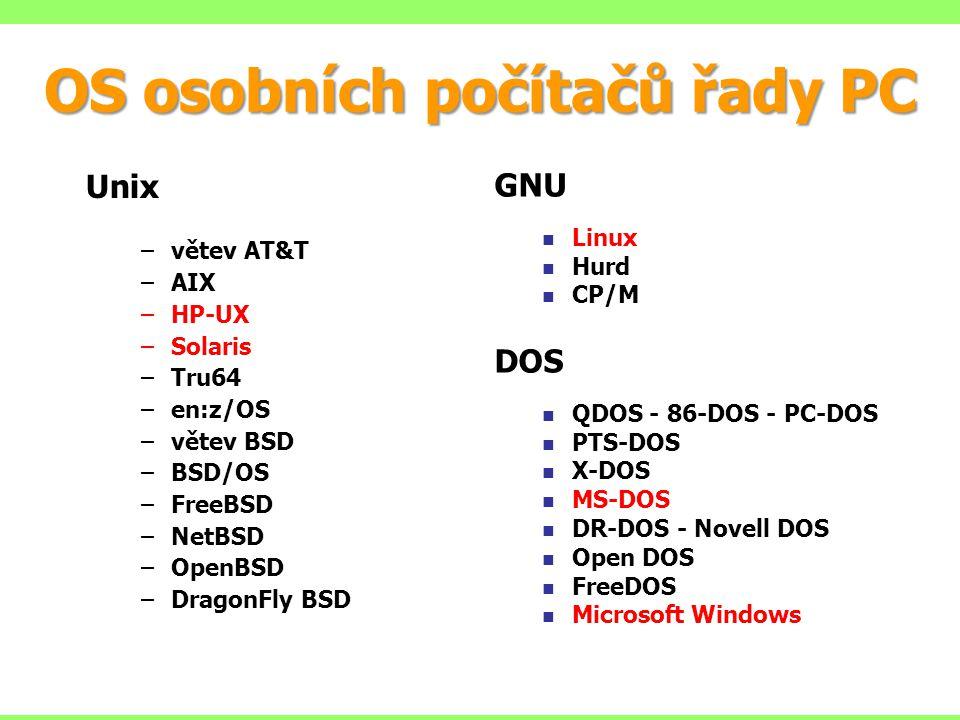 OS osobních počítačů řady PC Unix –větev AT&T –AIX –HP-UX –Solaris –Tru64 –en:z/OS –větev BSD –BSD/OS –FreeBSD –NetBSD –OpenBSD –DragonFly BSD GNU Linux Hurd CP/M DOS QDOS - 86-DOS - PC-DOS PTS-DOS X-DOS MS-DOS DR-DOS - Novell DOS Open DOS FreeDOS Microsoft Windows