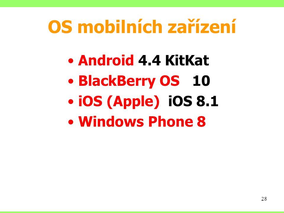 OS mobilních zařízení Android 4.4 KitKat BlackBerry OS 10 iOS (Apple) iOS 8.1 Windows Phone 8 28