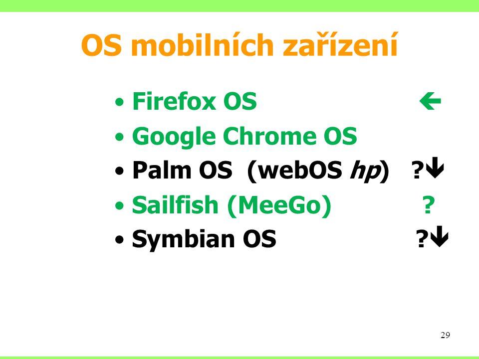 OS mobilních zařízení Firefox OS  Google Chrome OS Palm OS (webOS hp) .
