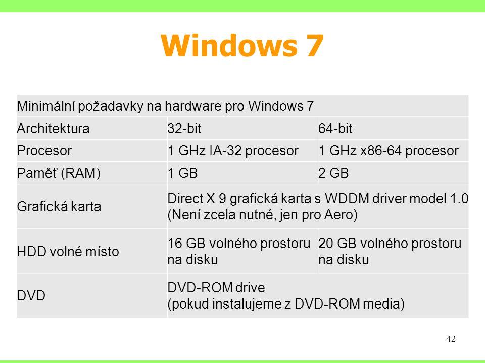 Windows 7 Minimální požadavky na hardware pro Windows 7 Architektura32-bit64-bit Procesor1 GHz IA-32 procesor1 GHz x86-64 procesor Paměť (RAM)1 GB2 GB Grafická karta Direct X 9 grafická karta s WDDM driver model 1.0 (Není zcela nutné, jen pro Aero) HDD volné místo 16 GB volného prostoru na disku 20 GB volného prostoru na disku DVD DVD-ROM drive (pokud instalujeme z DVD-ROM media) 42