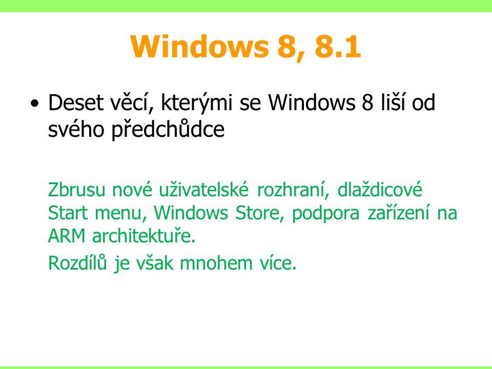 Windows 8, 8.1 Deset věcí, kterými se Windows 8 liší od svého předchůdce Zbrusu nové uživatelské rozhraní, dlaždicové Start menu, Windows Store, podpora zařízení na ARM architektuře.