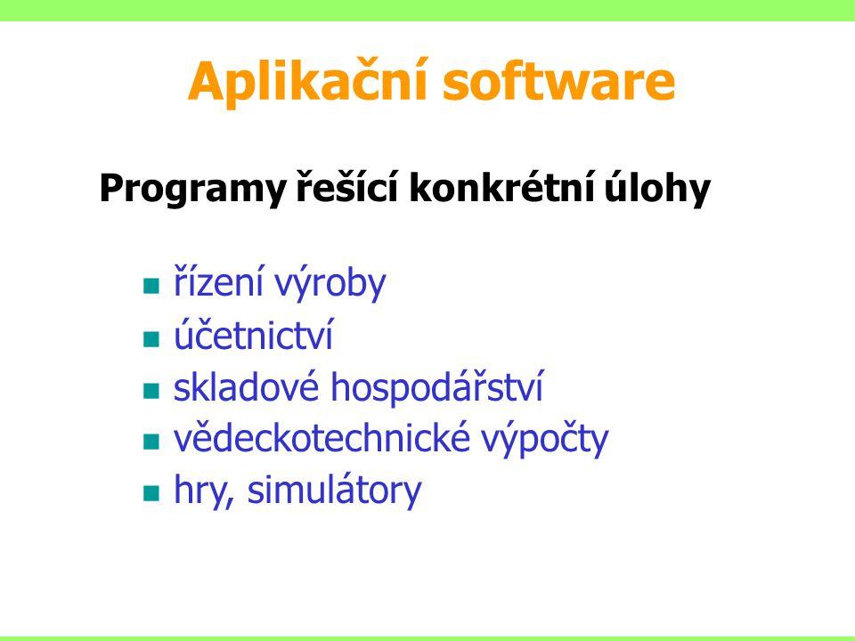 Aplikační software Programy řešící konkrétní úlohy řízení výroby účetnictví skladové hospodářství vědeckotechnické výpočty hry, simulátory