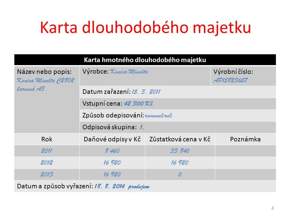Karta dlouhodobého majetku Karta hmotného dlouhodobého majetku Název nebo popis: Konica Minolta C2802 barevná A3 Výrobce: Konica Minolta Výrobní číslo: AP15823657 Datum zařazení: 15.