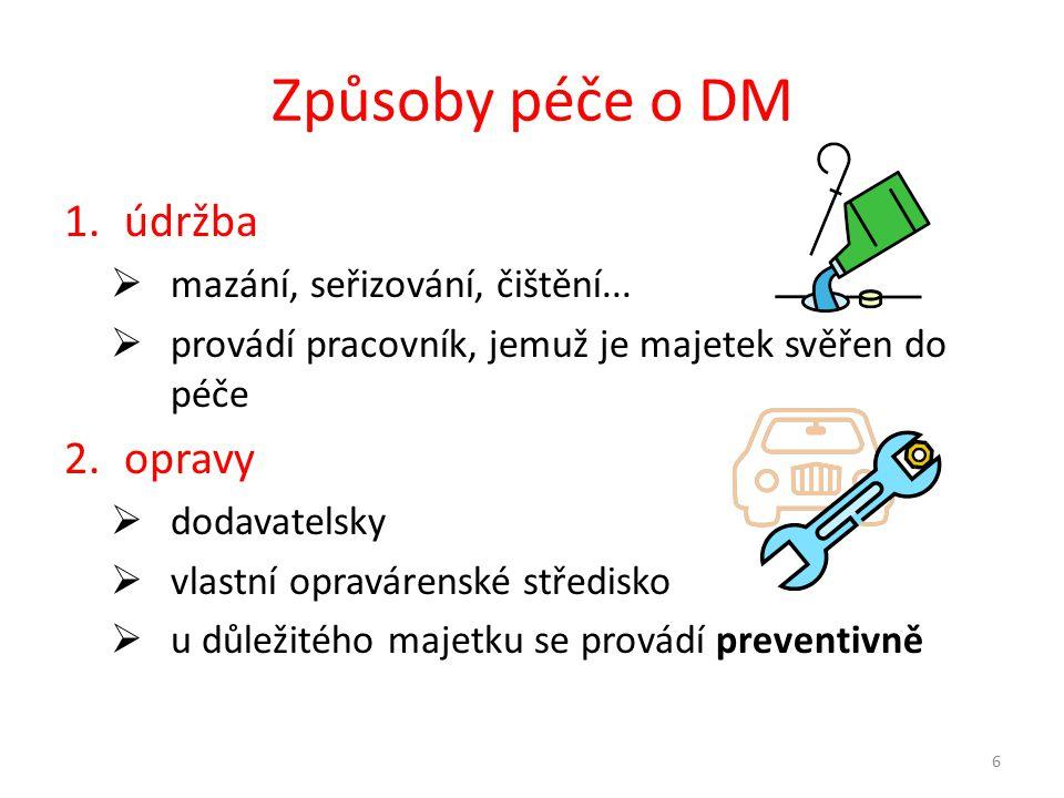 Způsoby péče o DM 1.údržba  mazání, seřizování, čištění...