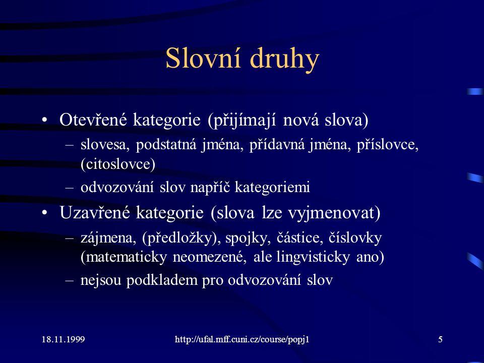 18.11.1999http://ufal.mff.cuni.cz/course/popj116 Sada značek Penn TreeBanku 1.