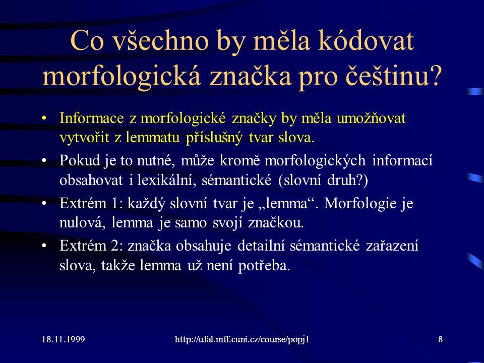 18.11.1999http://ufal.mff.cuni.cz/course/popj19 Poziční značky PDT (Pražského závislostního korpusu) AGFS3-------1 slovní druhpoddruh rodčíslopád vnitřní rod vnitřní číslo osoba čas stupeň zápor slovesný rod -A odstín