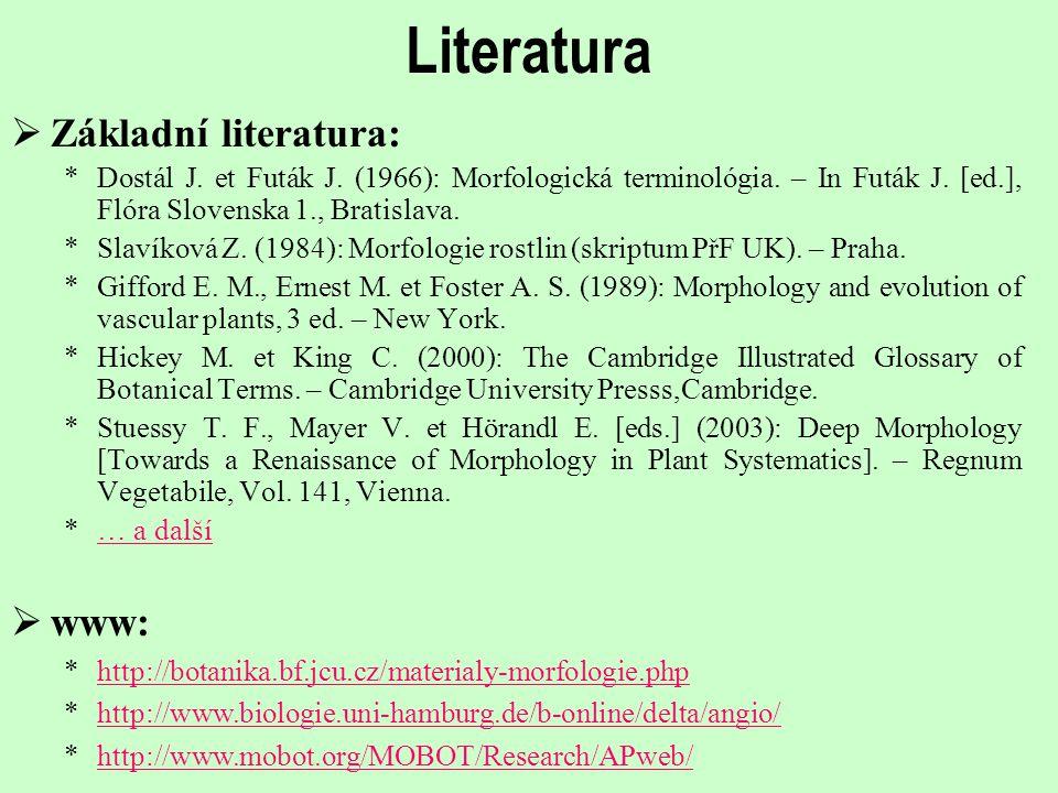 Literatura  Základní literatura: *Dostál J. et Futák J. (1966): Morfologická terminológia. – In Futák J. [ed.], Flóra Slovenska 1., Bratislava. *Slav
