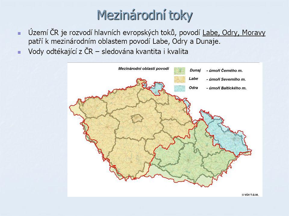 Mezinárodní toky Území ČR je rozvodí hlavních evropských toků, povodí Labe, Odry, Moravy patří k mezinárodním oblastem povodí Labe, Odry a Dunaje.